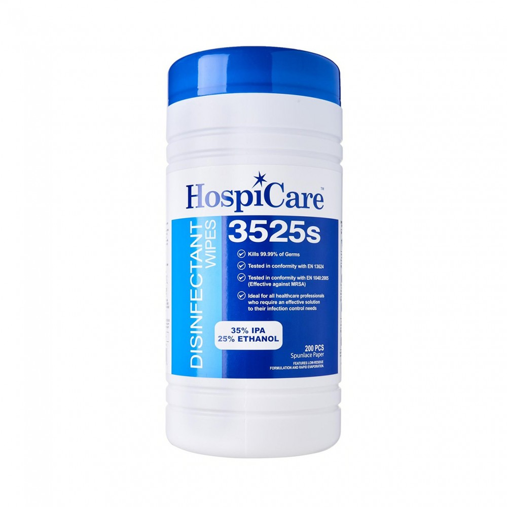 HospiCare 3525 Alcohol Disinfectant Wet Wipes Resealable Tub 150s pulls