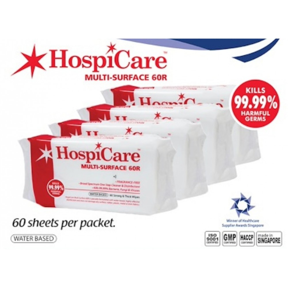 HospiCare Multi-surface Wipes 60 Sheets, Alcohol Free