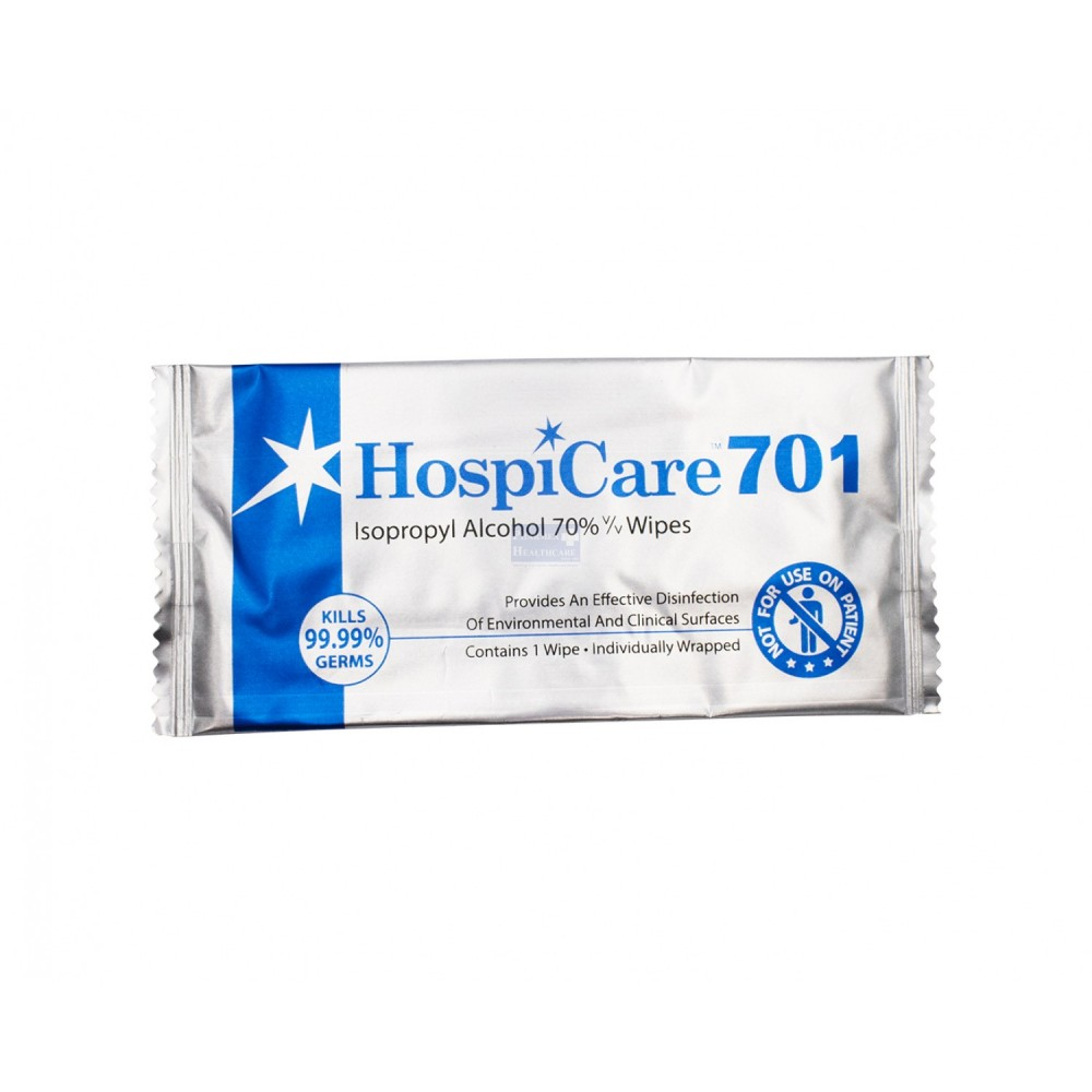HospiCare 701 Isopropyl 70% Alcohol Surface Wipe, Pkg of 100 PCS